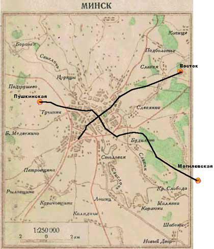 А если на карту Минска 1950