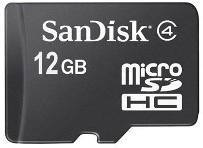 12 Гб памяти для мобильников в виде microSDHC-карты SanDisk