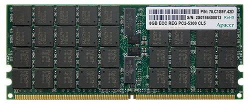 Первые 8-Гб модули DDR2-667 Registered DIMM от Apacer