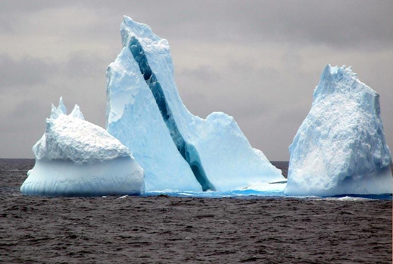 В Антарктике увидели разукрашенные айсберги