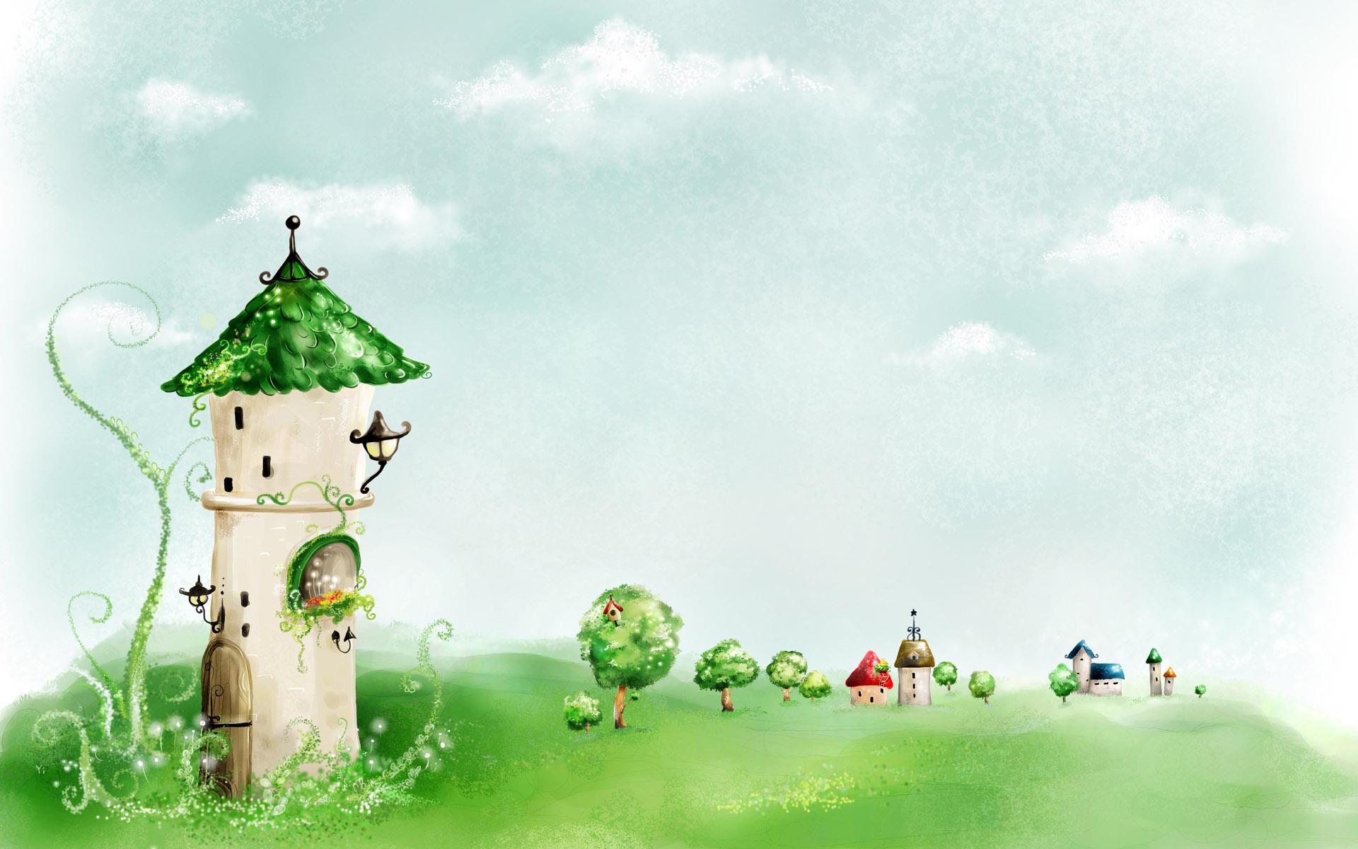 Гоордок, сказка, домик, башня, зелень, городок, рисунок.