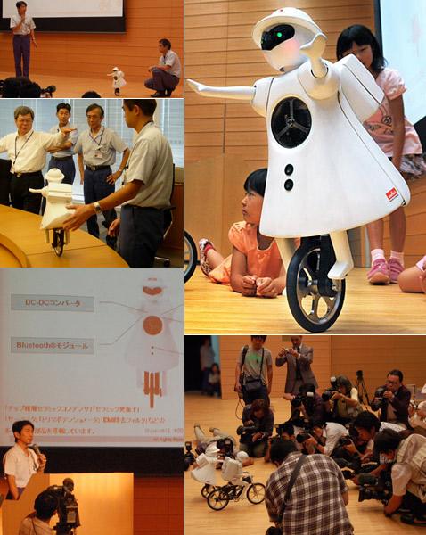 Японская девочка-робот ездит на одном колесе
