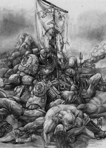 Вархаммер 40к Орден Космодесанта: Багровые кулаки (арт)