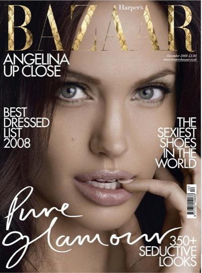 Анджелина Джоли (Angelina Jolie) снялась в фотосессии и появилась на обложке декабрьского номера журнала Harper's Bazaar.