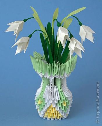 3D оригами: подснежники в