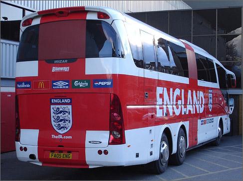 Автобусы различных футбольных клубов