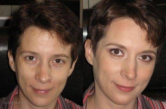 Женские секреты : до и  после мейк-апа