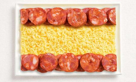 Национальные флаги из еды