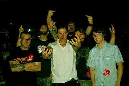 Участники группы SlipKnoT без масок