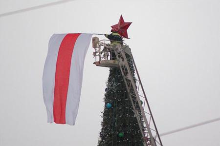 Над галоўнай ёлкай Віцебска ўзнялі бел-чырвона-белы сцяг (фота)