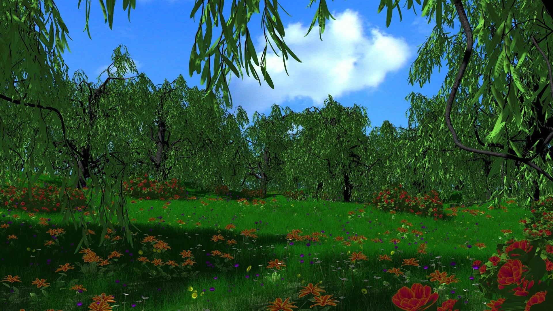 Картинки лесная поляна анимация