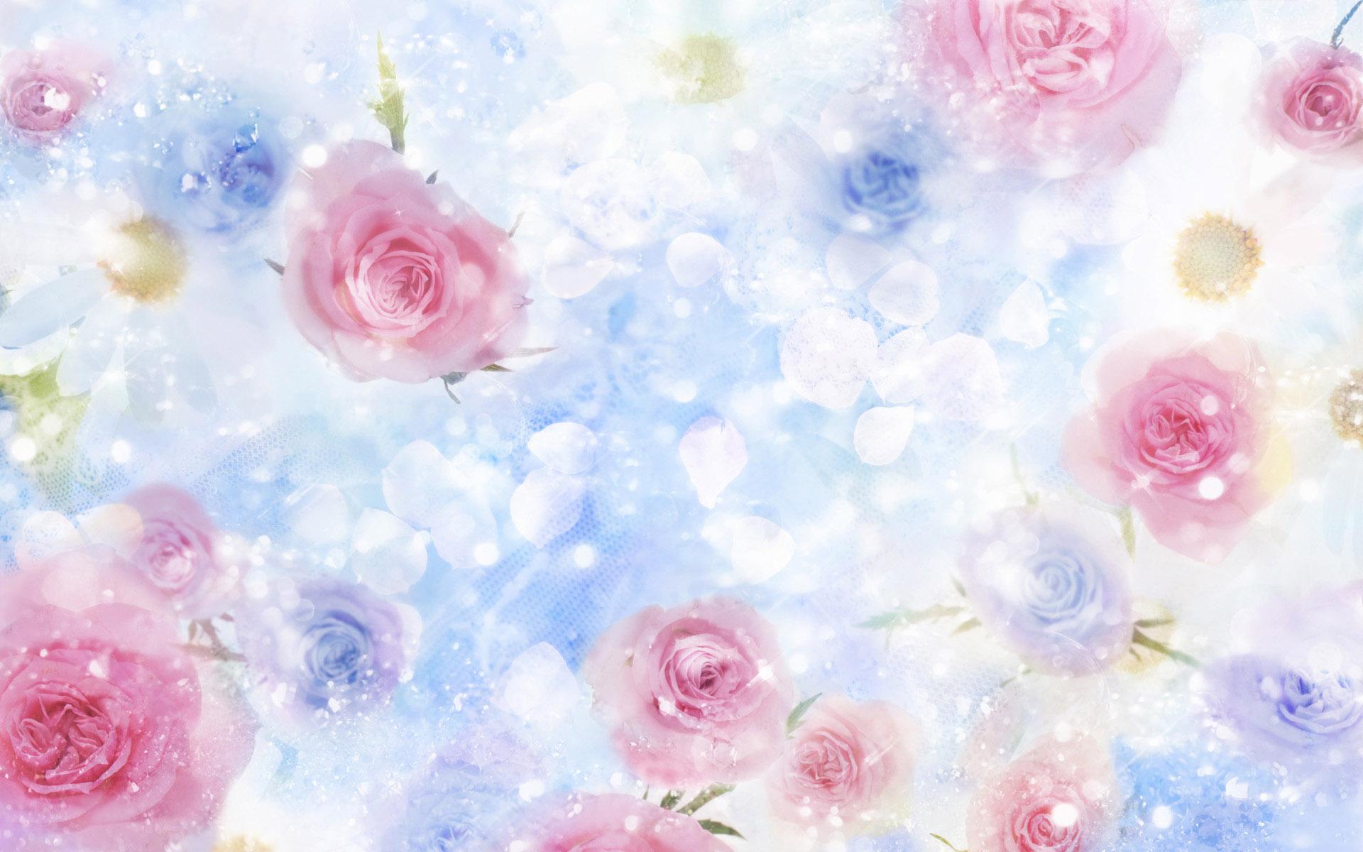 Бесплатные широкоформатные обои на рабочий стол. Розы и лепесточки.