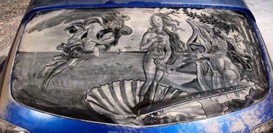Рисунки на грязных машинах от Scott Wade