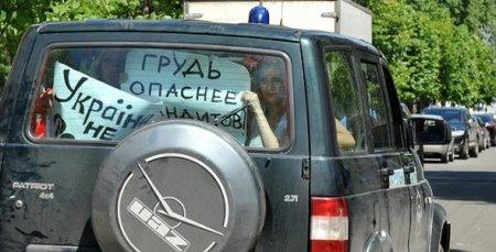 Украинские активистки женского движения FEMEN поддержали синих ведерок