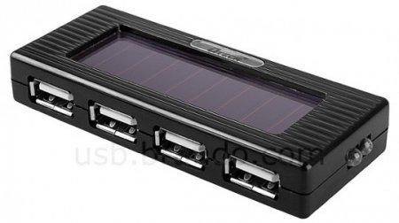 Портативный USB-хаб зарядит 4 устройства от солнечной батареи