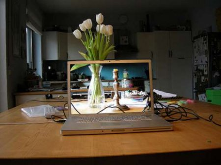 Unbelievable see-through computer screen illusions