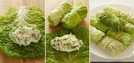 Голубцы из савойской капусты с двумя видами начинки