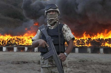 Сожжение 134 тонн марихуаны в Тихуане
