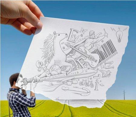 Сочетание карандашных набросков с реальной жизнью