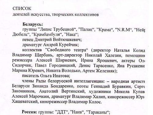 Обнародован список запрещённых деятелей искусств в Беларуси - музыкантов и российских писателей