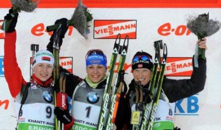 Дарья Домрачева выиграла серебро в масс-старте на чемпионате мира по биатлону