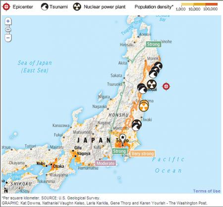 Японский полуостров сдвинулся из-за землетрясения более чем на пять метров