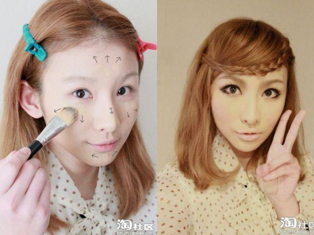 Азиатки до и после макияжа