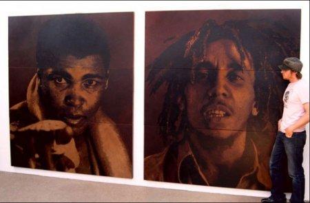 Картины на кусках кожи Mark Evans