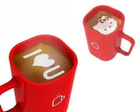 Концепт: кофемашина, делающая рисунки на кофейной пенке