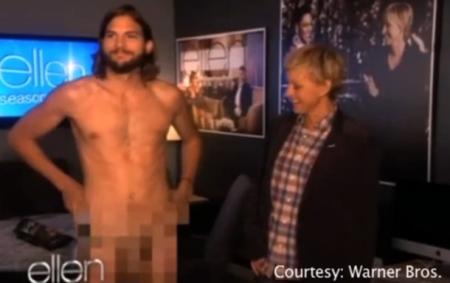 Полностью голый Эштон Катчер в шоу Эллен Дедженерес