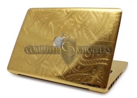Золотой MacBook Pro с бриллиантовой инкрустацией