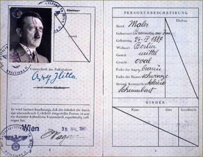 Фальшивый паспорт Гитлера