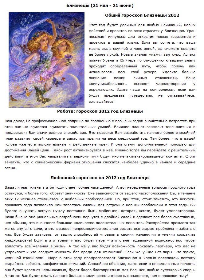 Интересный гороскоп на 2012 год