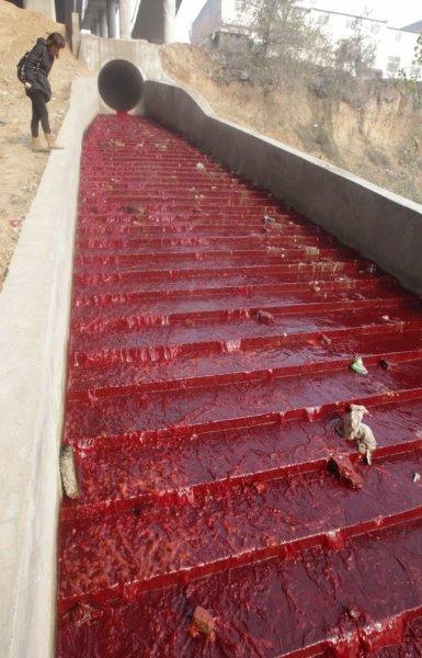 """""""Кровавая"""" река в Китае"""