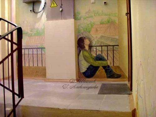 В подъезде написали портреты всех жильцов