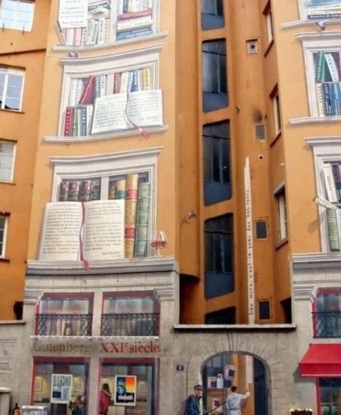 Рисунки 3d на стенах домов