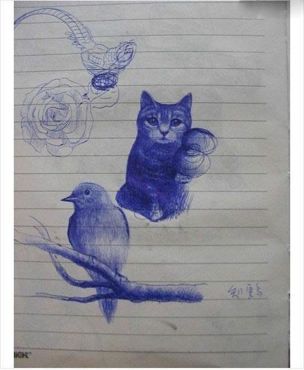 Рисунки шариковой ручкой