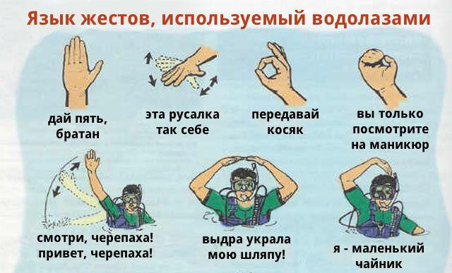 Язык жестов у водолазов