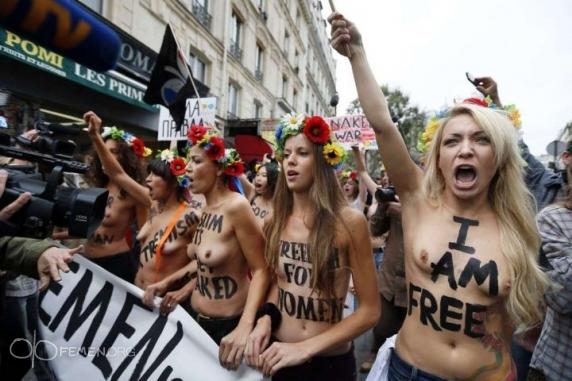 FEMEN отметили открытие парижского офиса антиисламским шествием