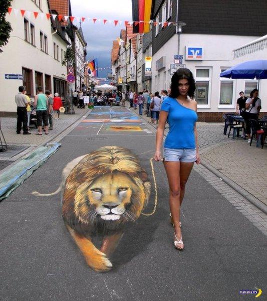 Новые 3D-рисунки на асфальте
