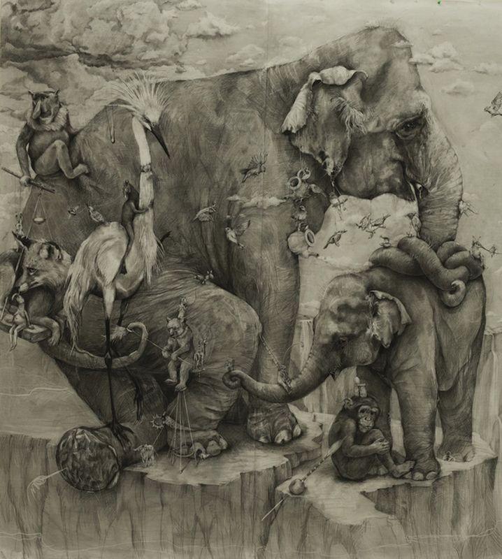 """200 тысяч долларов за карандашый рисунок """"Слоны"""""""