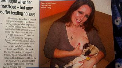 Мать двоих детей 2 года кормит грудью свою собаку