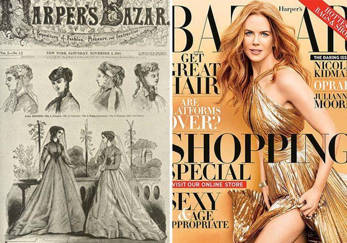 Обложки женских журналов через столетия