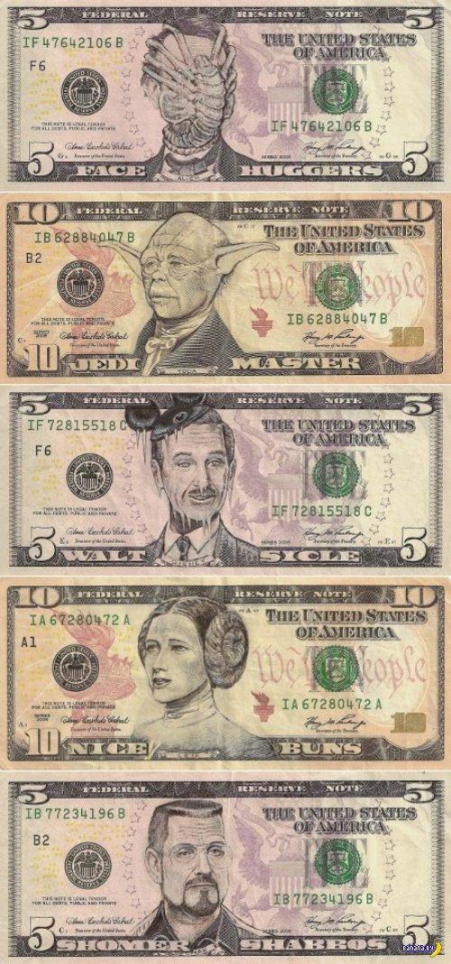 Рисунки на долларах