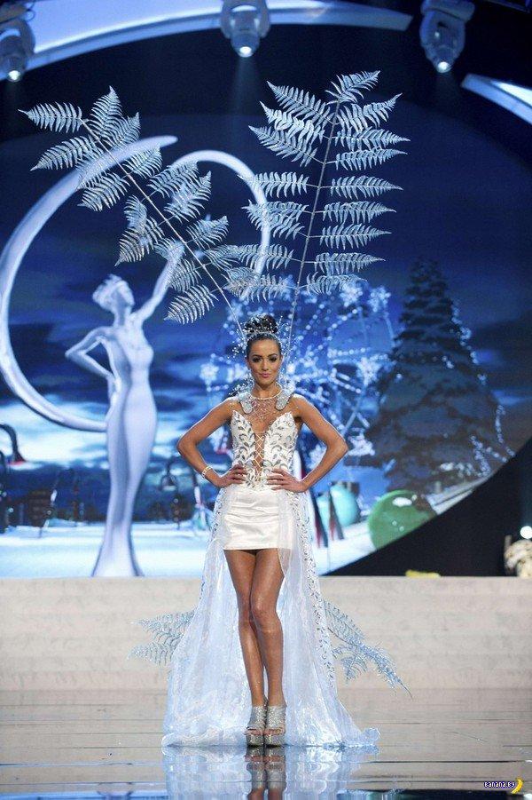 Девушки с Мисс Вселенная 2012 в национальных костюмах