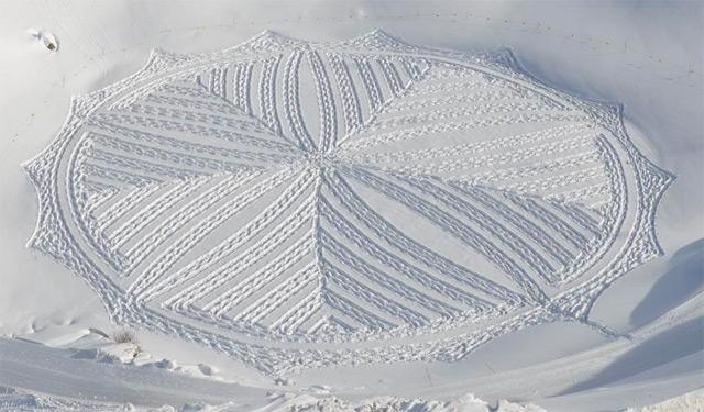 Новые рисунки на снегу от Simon Beck