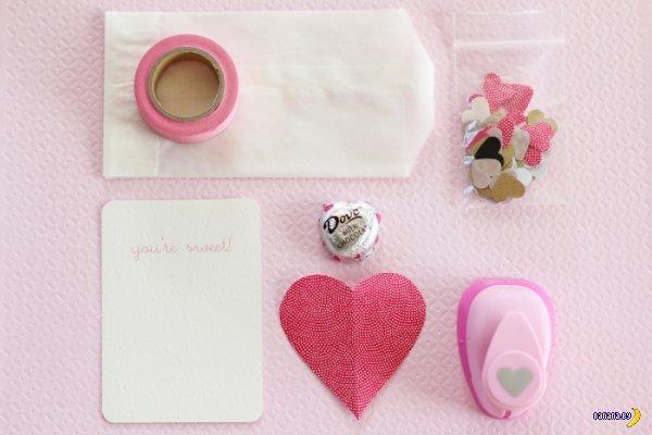 Валентинка с конфетой