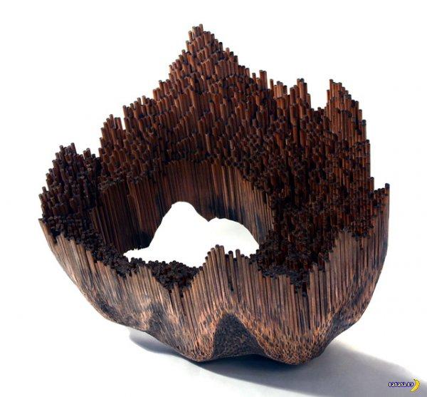 Органичные скульптуры из карандашей