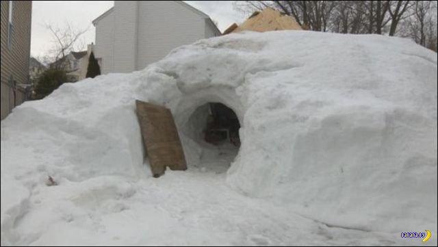 Снежная берлога на заднем дворе