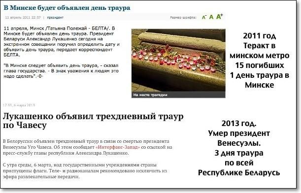 В Беларуси объявлен траур на три дня